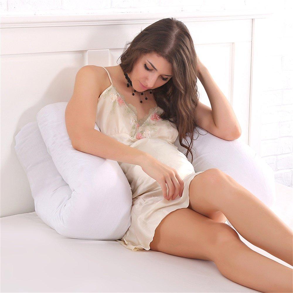 coj/ín de Lactancia para beb/é Funda de Almohada con Cremallera Almohada de algod/ón c/ómoda para Dormir Almohada de Lactancia en Forma de U para Dormir Lateral Jian Ya Na
