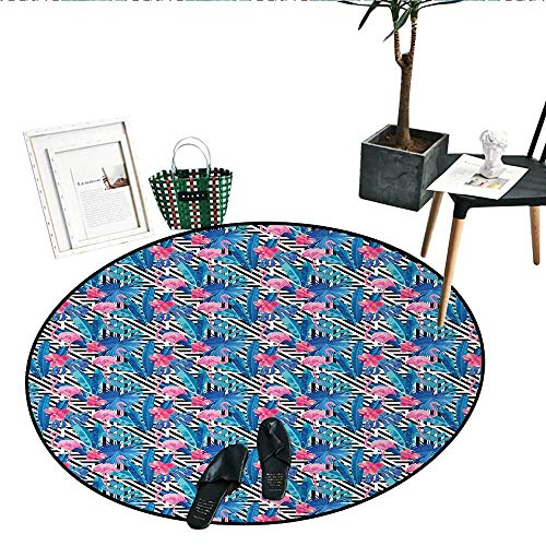 Banana Leaf Round Rugs for Bedroom Watercolor Tropic Pink Flamingos and Orchid with Blue Floral Plant Jungle Palm Circle Rugs for Living Room (39