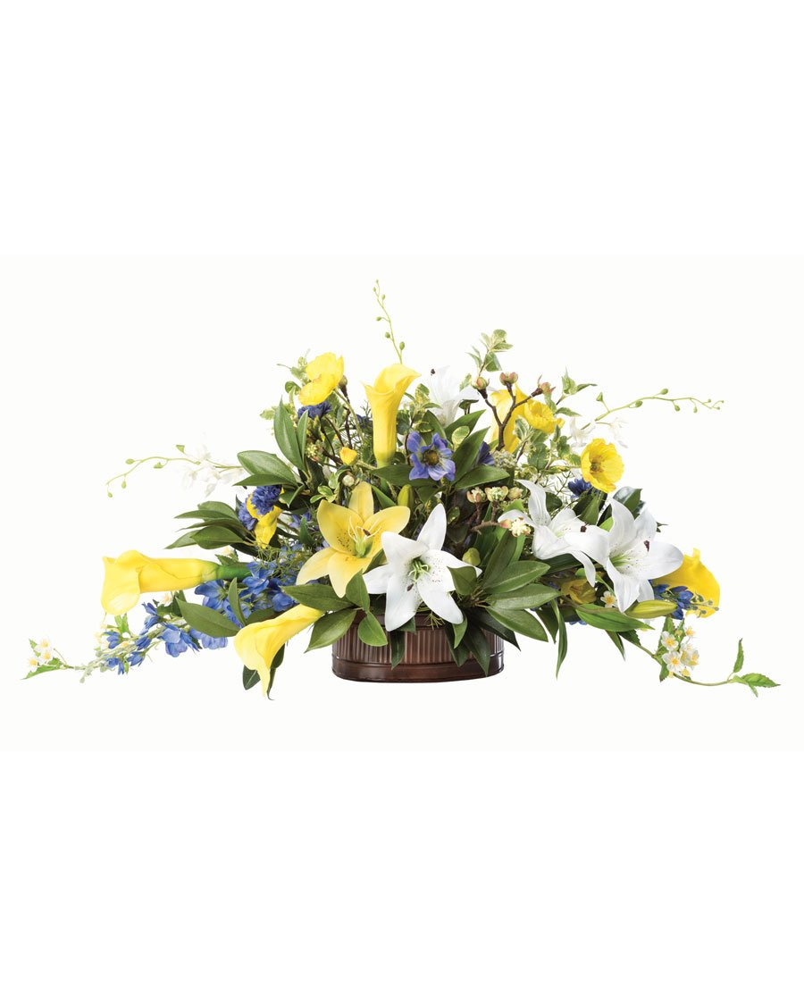 Lilies & DelphiniumシルクフラワーCenterpiece B0791N4FZW