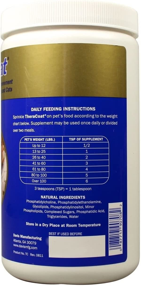 TheraCoat Davis Dog Skin and Coat Supplement Hair Regrowth Healthy Food 16 Oz. 454 Gram