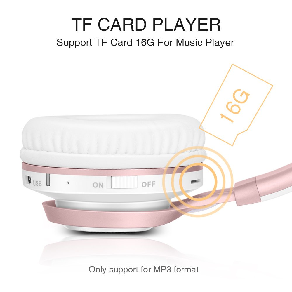 Wireless Headphones, HiFi Stereo Bluetooth Headphones with Mic, Lightweight Foldable Headset, Soft Protein Earmuffs, Support TF Card And FM Radio Wired Mode for PC Cellphone TV Girls Women (Rose Gold) by Picun (Image #4)