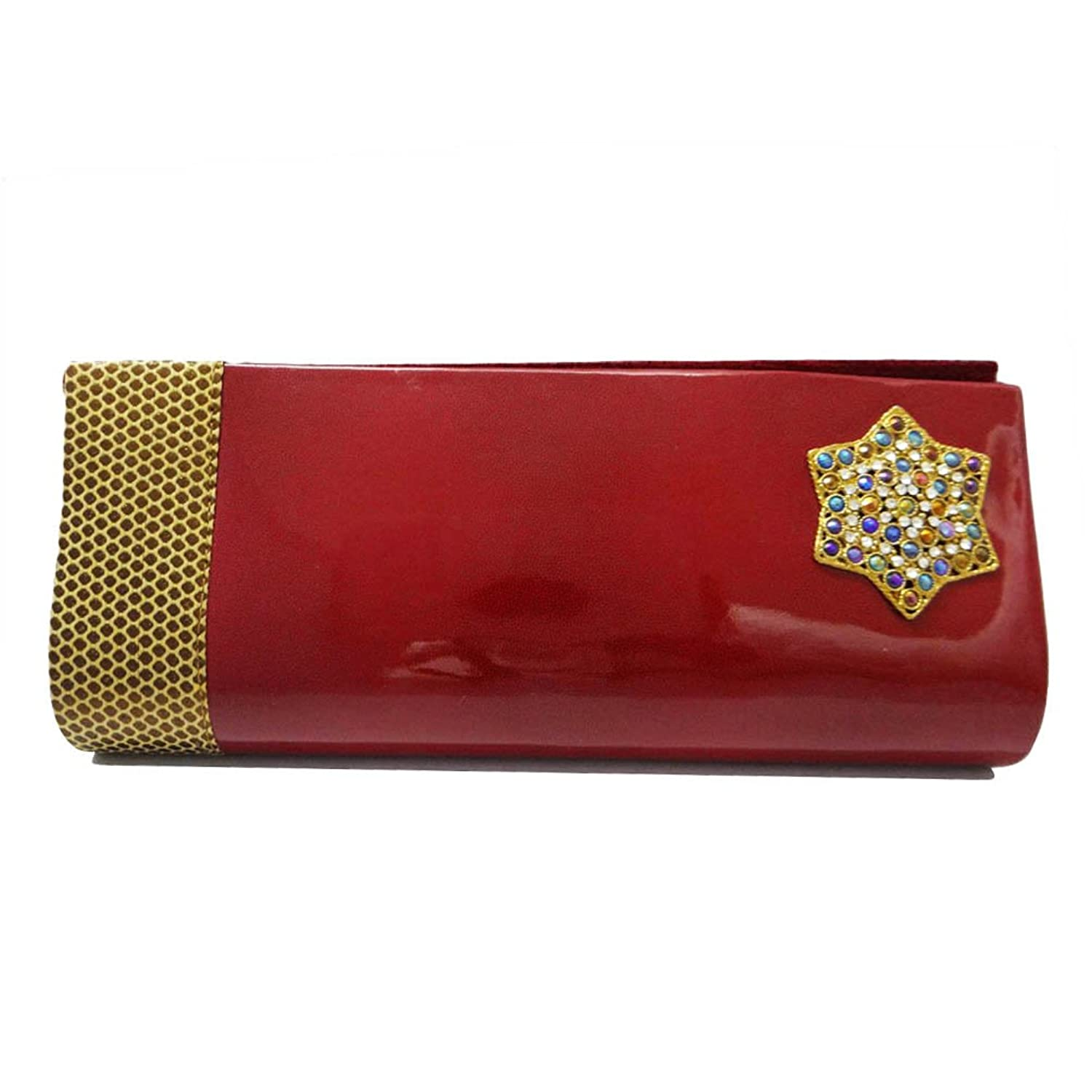 Fashionable Clutch Faux Leather Maroon Purse Evening Party Women Handbag India