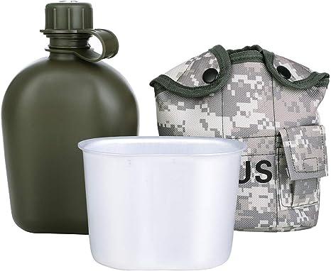 Botella de Agua Camuflaje Port/átil Cantina Militar Verde de Ej/ército con Fiambrera de Aluminio para Acampar Senderismo Viaje Camping Cantina SHINYEVER Botella de Agua Militar Cantimploras