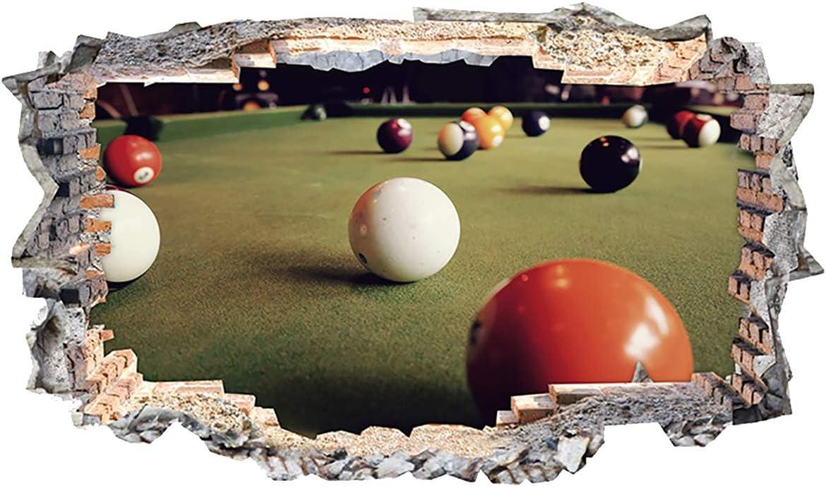 N559 Mesa de Billar Bolas Deportes Smashed Adhesivo Pared 3D Arte ...