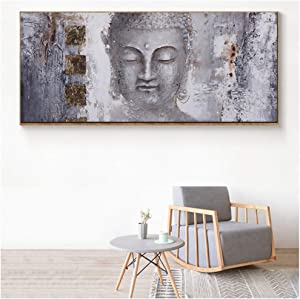 YIYAOFBH Large Size Buddha Zen Wall Art Pictures Canvas Paintings Print Poster Oil Painting for Living Room Home Decor-40x120cm No Frame
