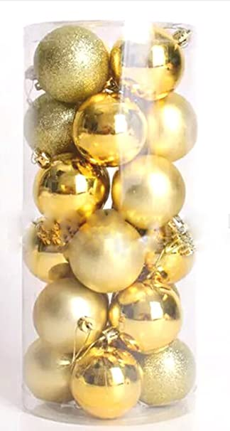 Amazon.com: 24pcs Christmas Balls Ornament Shatterproof Pendants For  Holiday Xmas Garden Decorations (Gold): Home U0026 Kitchen