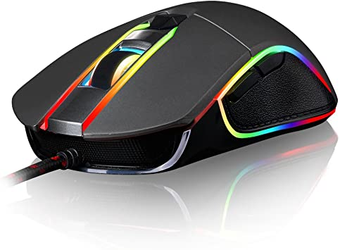 Motospeed V30 Wired 4000 DPI Gaming Mouse Support Macro Programming, with 6 Buttons, Adjustable RGB Backlit, 4 Adjustable DPI Mouse for PC, Laptop, ...