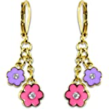 Kids Flower and Crystal Dangle Earrings Girls Jewelry Sets Fashion Jewelry for Girls 18k Gold Plated