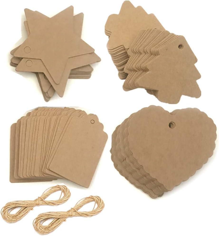 confezione di tag 200pcs in 4 disegni e corda di iuta 66Yard Etichette regalo albero appeso Natale tag regalo avvolgente Tag regalo carta kraft con corda di juta etichetta regalo mestiere bianco