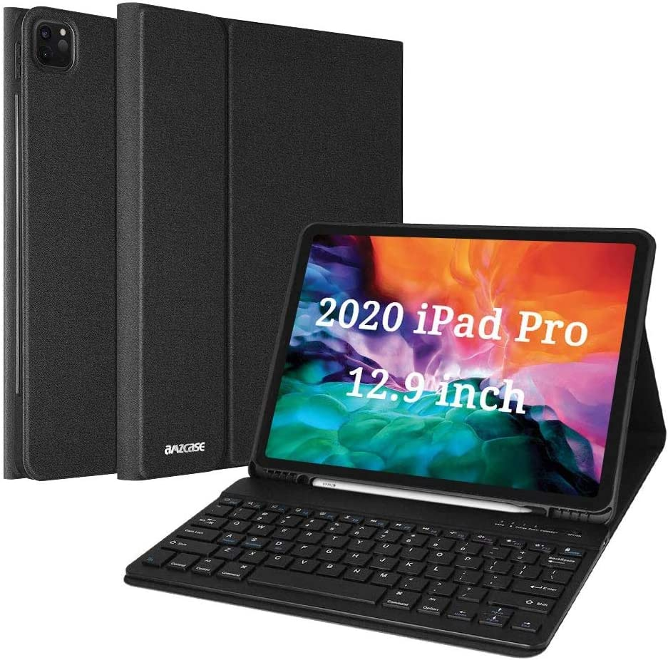 """Keyboard Case for iPad Pro 12.9 2021 5th Generation/2020 4th Gen/2018 3rd Gen, 12.9"""" iPad Pro Case with Magnetically Wireless Detachable Keyboard and Pencil Holder, Black"""
