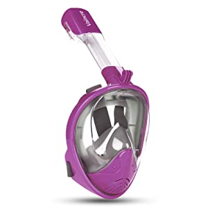Vaincre 180° Full Face Snorkel Mask with Panoramic View Anti-Fog, Anti-Leak with Adjustable Head Straps - See Larger Viewing Area Than Traditional Masks for Kids, Youth and Adult