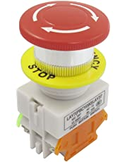 uxcell® Red Mushroom Cap 1NO 1NC Emergency Stop Push Button Switch AC 660V 10A