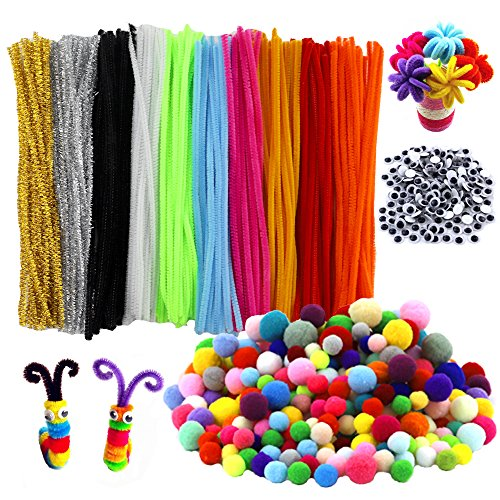 (HEHALI 800pcs Pipe Cleaners Set,Including 350pcs Colorful Pom Poms,250pcs 10 Colors Pipe Cleaners and 200pcs Wiggle Googly Eyes for Craft DIY Art Supplies (800pcs))