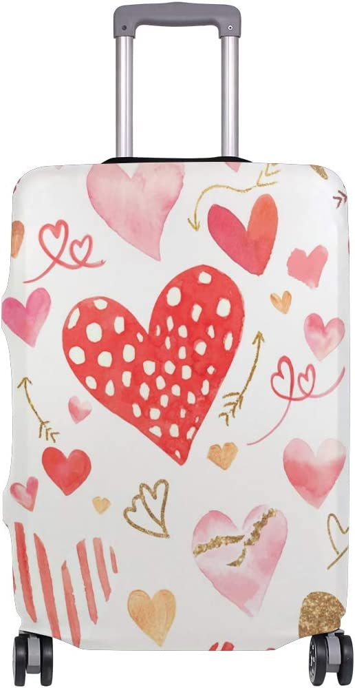 Baggage Covers Valentines Day Red Love Heart Pattern Washable Protective Case