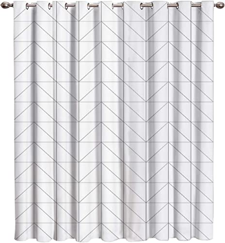 Verchant Window Treatments Blackout Window Curtain Drapes Room Darkening Curtains White and Gray Simple Geometric Light Blocking Window Curtain Panel