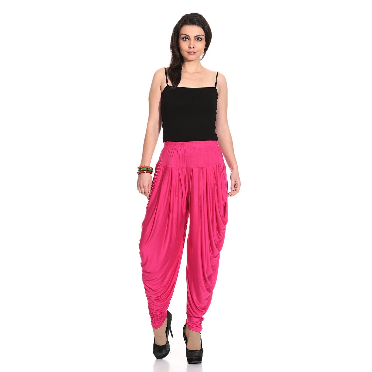 Ardour Dark Pink Relaxed Comfortable Cotton Blend Belly Dance Pants for Women- Free Size by Ardour (Image #4)