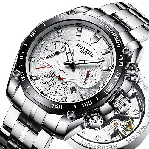 BOYZHE 2018 Mens Mechanical Watch Waterproof Tourbillon Wrist Watch Stainless Steel Leather Sport Military Automatic Watches for Men Relojes de Hombre
