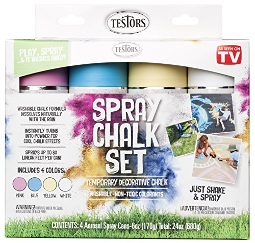 Testors 306006 Spray Chalk, 4 Color Kit, Assorted (Best Paint For Sidewalks)