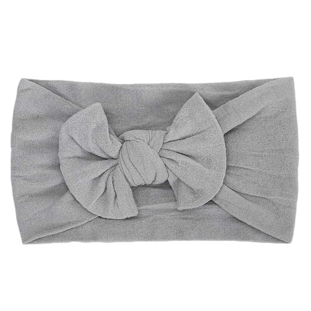 Cyhulu Baby Girl Nylon Headbands Newborn Infant Toddler Hairbands and Bows Child Hair Accessories (Gray, One size)
