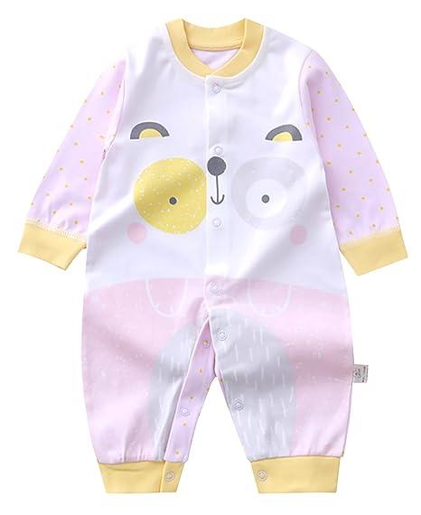 HUANXIXIAOXIONG Mono de Bebé Pelele Mameluco Algodón Transpirable con Mangas para Bebé Otoño Rosa 1-