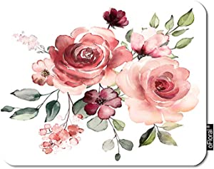 oFloral Flower Gaming Mouse Pad Garden Rose Pink Flowers Wedding Bloom Plant Leaves Decorative Mousepad Rubber Base Home Decor for Computers Laptop Office Home 7.9X9.5 Inch
