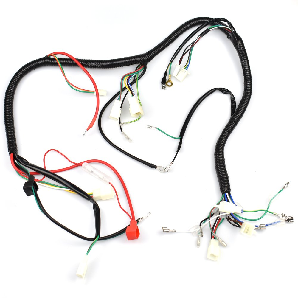 Complete Wiring Harness Kit Wire Loom Electrics Stator 4 3 Engine Coil Cdi For Atv Quad Four Wheelers 150cc 200cc 250cc Go Kart Dirt Pit Bikes