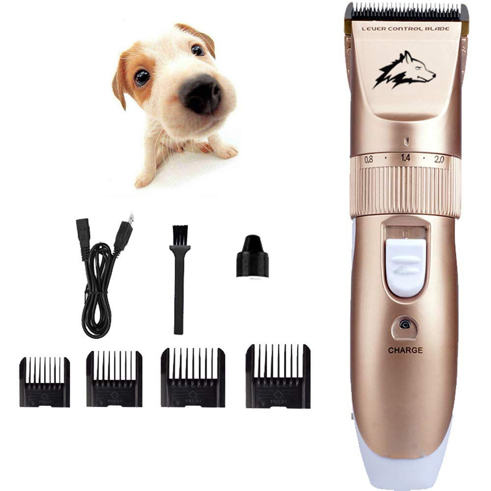 Dog Grooming Clippers,USB Rechargeable Cordless Low Noise Dog Grooming Clippers No Skin Damage Electric Hair Trimming Clippers Set Pet Hair Shaver Detachable Blade with 4 Comb Guides