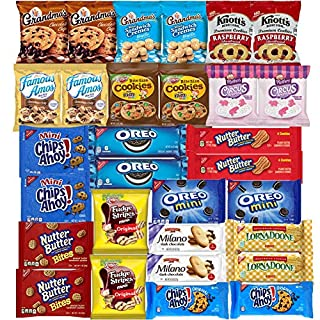 Cookies Variety Pack Assortment Sampler Individually Wrapped Cookies Bulk Care Package (30 Count)