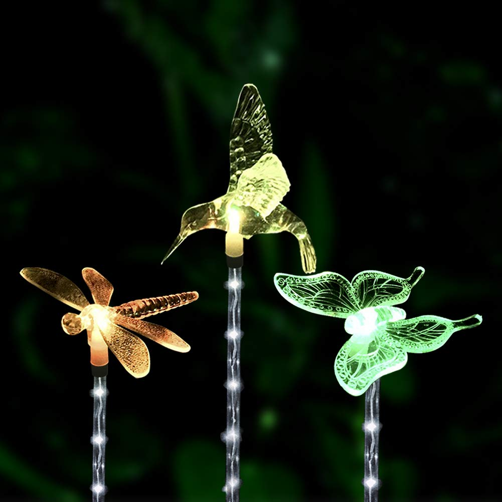 Outdoor Solar Garden Decoration Lights - Dolucky Upgraded Color Changing LED Solar Lights with Transparent White LED Light Tube for Outdoor Decoration, 3 Pack (Hummingbird, Butterfly, Dragonfly)