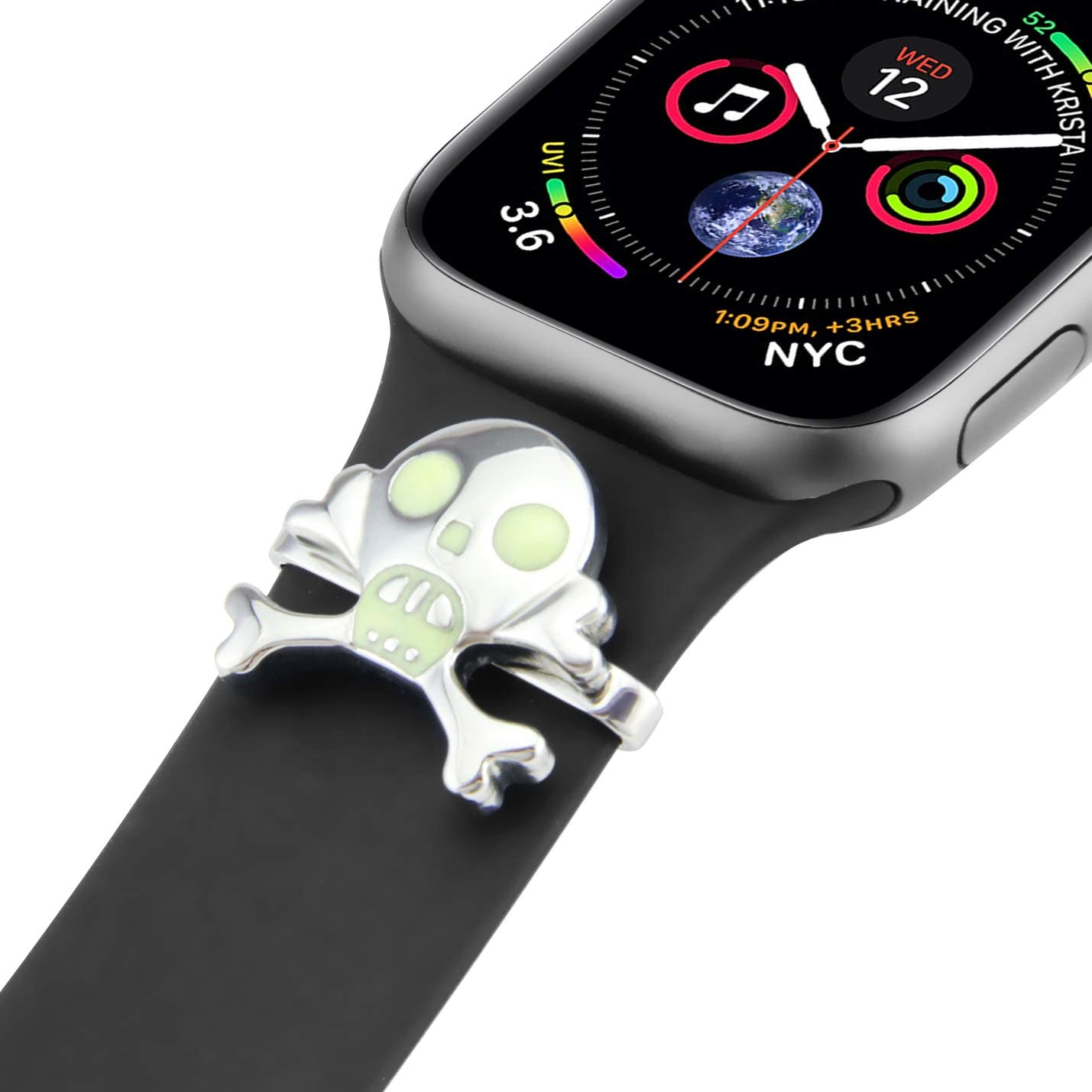 BaiHui Metal Decorative Rings Loops Silicon Band Charms Accessory Compatible with Apple Watch Silicon Bands 40mm 38mm Series 5/4/3/2 (Silver,Skull)