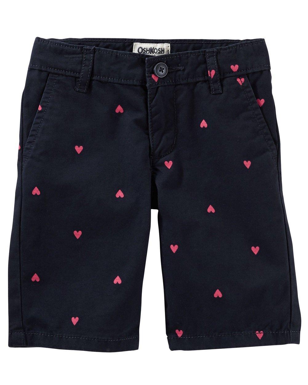 OshKosh B'Gosh Girls Cotton Navy Blue Heart Print Shorts (6X)