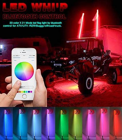 TheOne - Kit de antena de bandera, tubo LED RGB, 20 colores y 200 combinaciones, para quad y side by side, controlado por aplicación de smartphone con ...