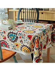 Bringsine Vintage Rectangular Cotton Linen Lace Sun Flower Tablecloth,  Washable Tablecloth Dinner Picnic Table Cloth Home Decoration Assorted Size