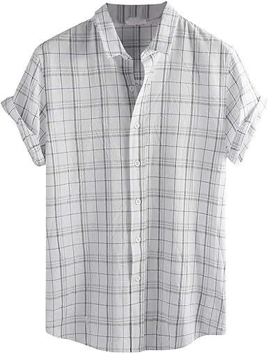 Camisa de Lino para Hombre, Estilo Vintage, Manga Corta, Estilo Retro, con Estampado de Empalme Blanco Blanco M: Amazon.es: Ropa y accesorios