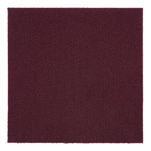 Price comparison product image Achim Home Furnishings NXCRPTBU12 Nexus Burgundy 12 inch x 12 inch Self Adhesive Carpet Floor Tile,  12 Tiles / 12 Sq'.