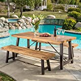 Rosario Outdoor Wood 3-piece Picnic Dining Set For Sale