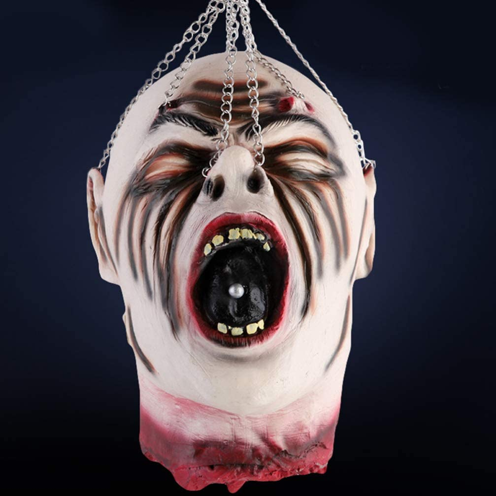 Wakauto 1 PC Horror Novelty Scary Decorative Halloween Hanging Dead Head Hanging Head Ghost Head Haunted House Ornament for Haunted House Decor