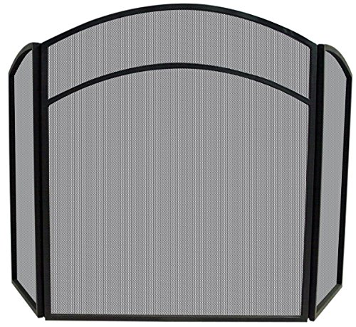 Uniflame 3-Fold Wrought Iron Arch Top Screen, Black