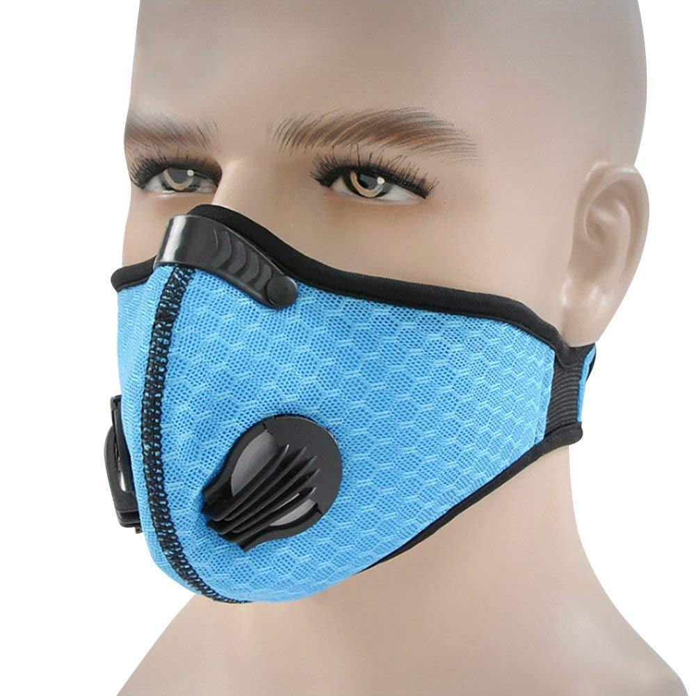 Premium Quality Face Mouth Mask, Riding Motorcycle Anti-pollution Face Mask Guard Sport Dustproof Mouth-muffle - Blue One Size