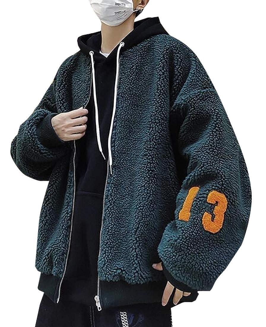 Esast Mens Warm Sweatshirt Sherpa Lined Hooded Fleece Slim Hoodie Down Jacket