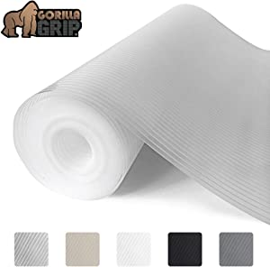 Gorilla Grip Ribbed Top Drawer and Shelf Liner, Non Adhesive Roll, 17.5 Inch x 10 FT, Durable and Strong, Grip Liners for Drawers, Shelves, Kitchen Cabinets, Storage, Kitchens and Desks, Clear Ribbed