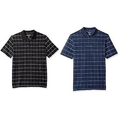 8d5f6b9ed6f Van Heusen Men s Printed Windowpane Short Sleeve Polo at Amazon Men s  Clothing store