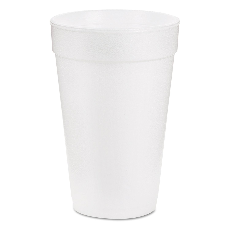 Dart 16J16 Foam Hot/Cold Drink Cups, 16 oz, White, 25/Bag, 40 Bags/Carton