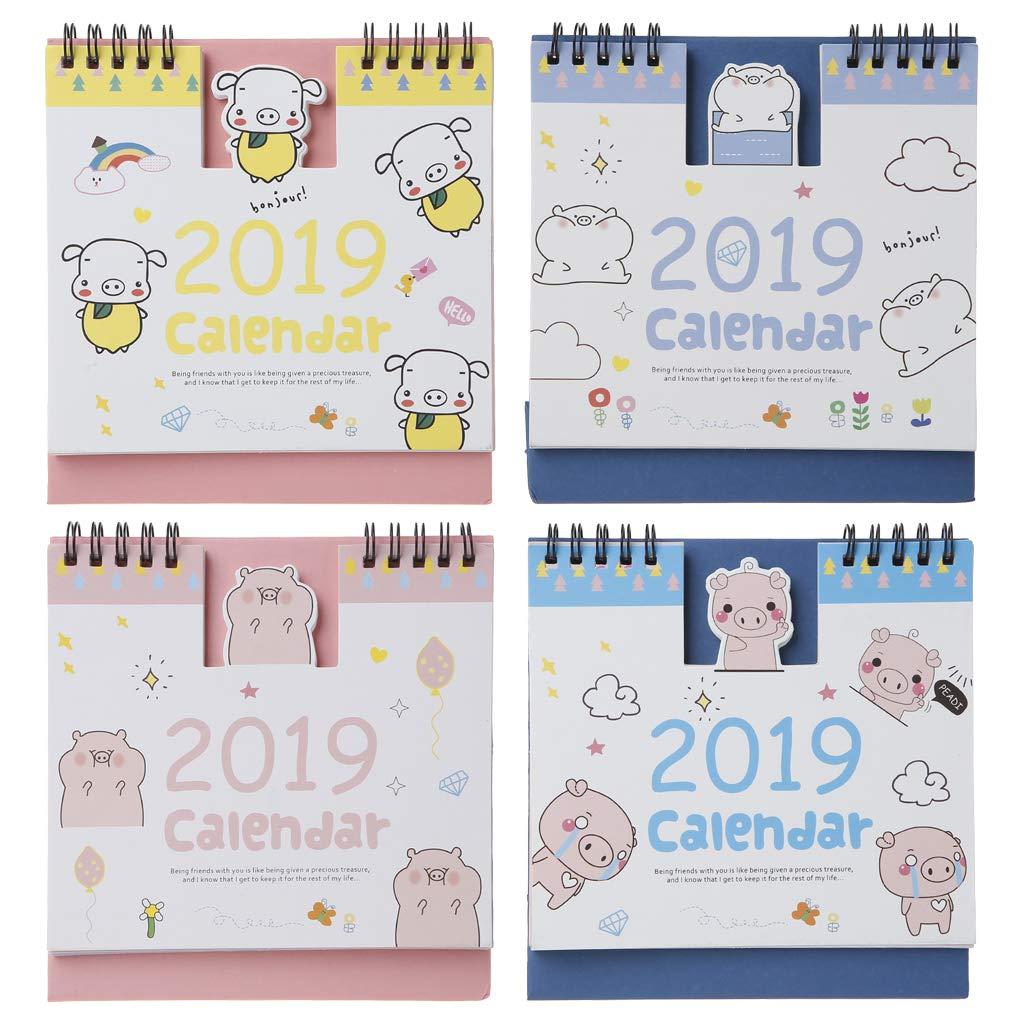 Junlinto, 2019 Lovely Happy Pig Tavolo da Biliardo in Piedi in Carta Calendario Memo Programma Giornaliero Tavolo Agenda Agenda annuale Organizzatore