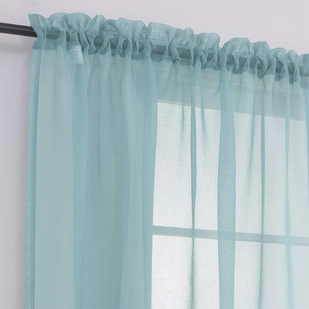 MYSTIC-HOME Sheer Curtains 84 Inches Long, Rod Pocket Sheer Drapes for Living Room, Bedroom, 2 Panels, 52