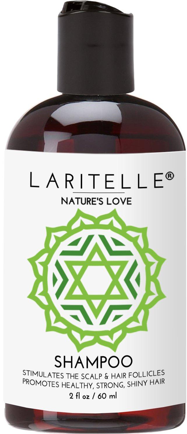 Laritelle Organic Travel Size Shampoo 2 oz   Organic Quinoa + Keratin + Follicle Stimulating Rosemary, Ginger & Grapefruit   Hair Loss Prevention, Clarifying, Softening, Strengthening   NO GMO. Vegan
