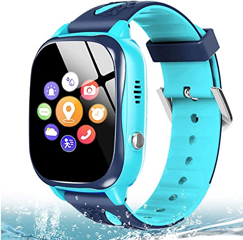 MiKin Waterproof Kids Smart Watch Phone GPS Tracker for Girls Boys Age 4-12 with 2 Way Call Camera SOS Games SOS Game Alarm Clock 1.5 Touchscreen Children GPS Watches Birthday Gift