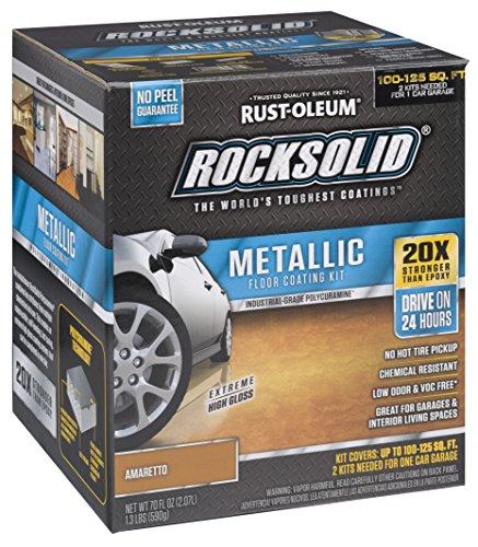 Rust-Oleum 299741 Rock-Solid Metallic Garage Floor Coating Kit, Amaretto, 70 Fl. Oz
