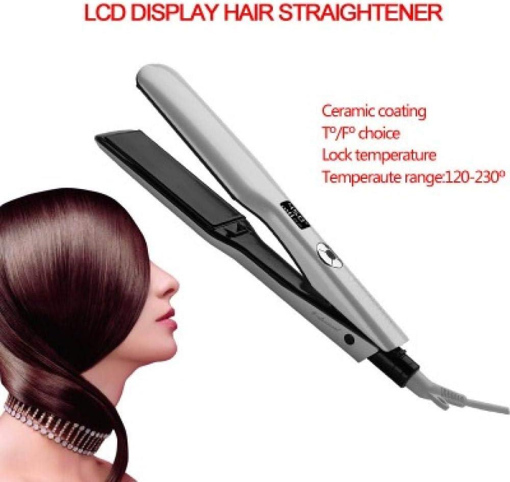 Plancha de pelo-2 in 1,CerámicaPlanchas Rizadoras de Volumen profesional Pantalla LCD de doble uso Tablero ancho Regulación de temperatura de varias velocidades Calentamiento rápido - permanente
