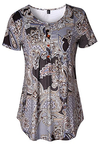 Women Vintage V Neck Paisley Tunic Blouse Plus Size Short Sleeve Button-up Flowy Ruffled Tops Shirt (Brown,3XL) One Button Print Blouse